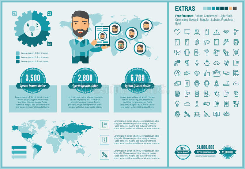 Mobility flat design Infographic Template. Mobility infographic template and elements. The template includes illustrations of hipster men and huge awesome set of royalty free illustration