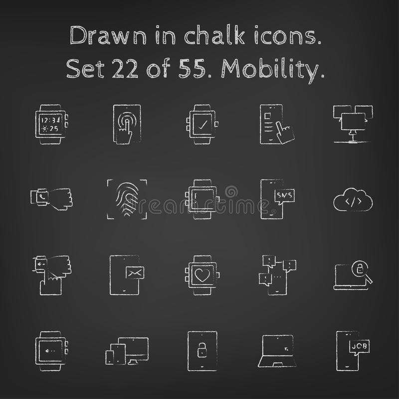 Mobility icon set drawn in chalk vector illustration