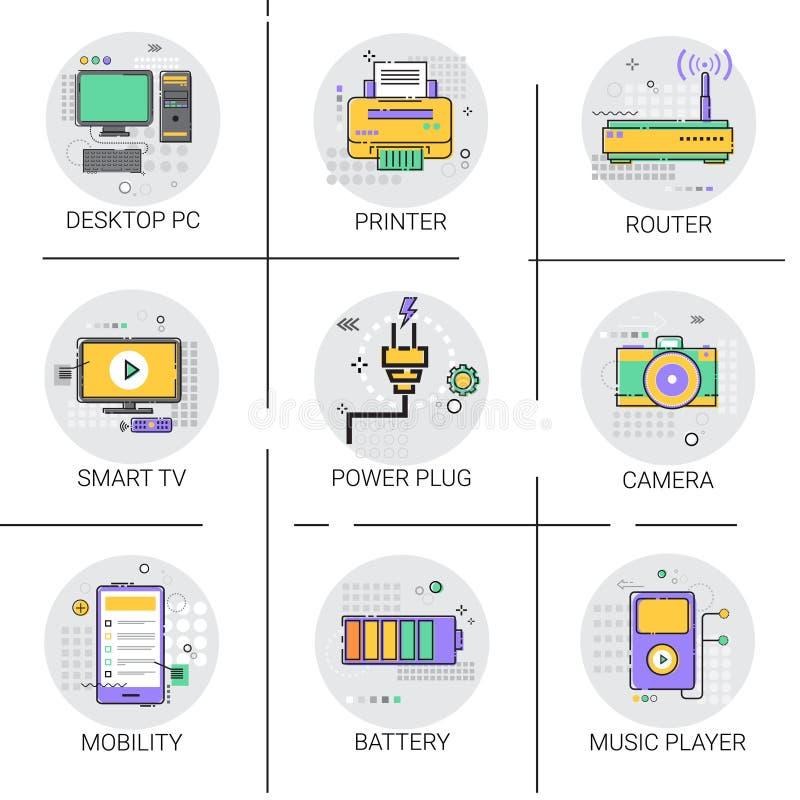 Mobility Modern Smart Gadget Printer Camera TV Player Icon Set. Vector Illustration royalty free illustration
