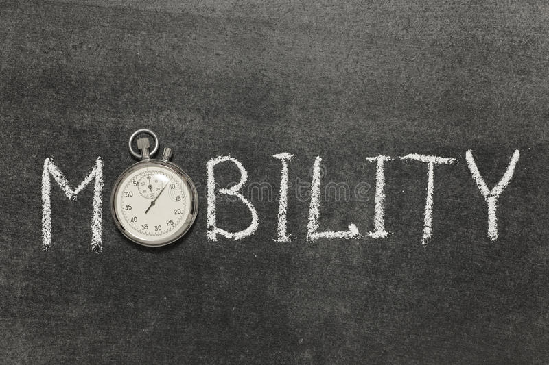Mobility. Word handwritten on chalkboard with vintage precise stopwatch used instead of O royalty free stock image