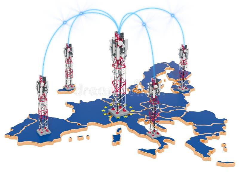 Mobilkommunikationen in der Europäischen Gemeinschaft, Zelltürme auf der Karte Wiedergabe 3d lizenzfreie abbildung