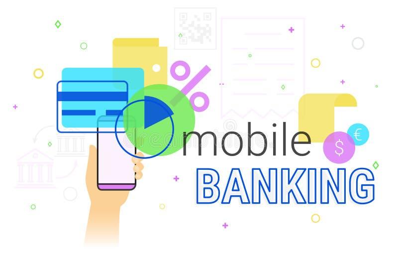 Mobilna bankowość i księgowość na smartphone pojęcia kreatywnie ilustraci ilustracja wektor