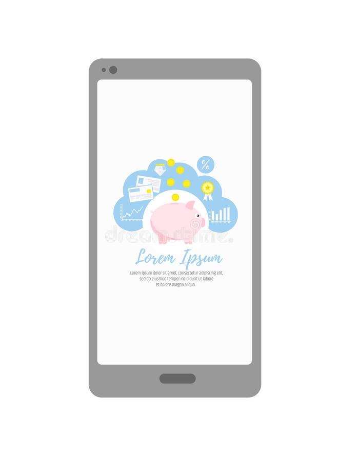 Mobilna bankowość Zastosowania dla osobistej pieniężnej księgowości Inwestycje i savings Prosiątko bank ilustracja wektor