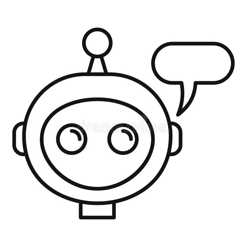 Mobilna chatbot ikona, konturu styl royalty ilustracja