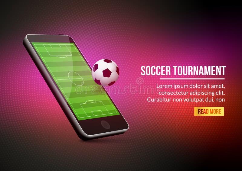Mobilna futbolowa piłka nożna Mobilny sport sztuki dopasowanie Online mecz piłkarski ilustracji