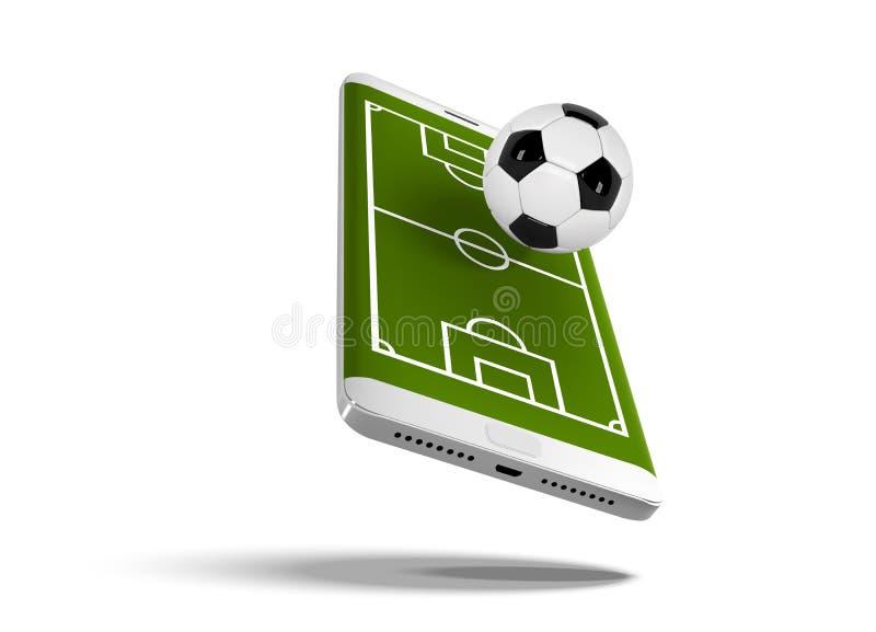 Mobilna futbolowa piłka nożna Mobilny sport sztuki dopasowanie Online mecz piłkarski z żywą wiszącą ozdobą app Boisko piłkarskie  royalty ilustracja