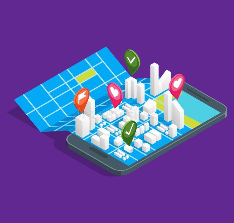 Mobilna GPS miasta nawigacja Kartografuje pojęcia 3d Isometric widok wektor ilustracji