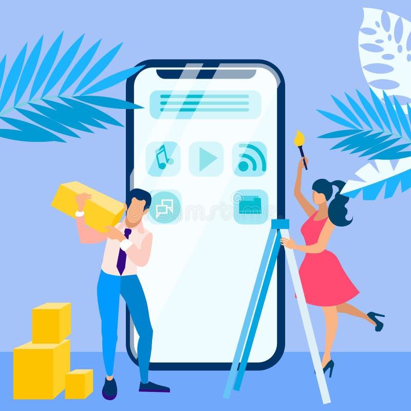 Mobilna interfejsu proces rozwoju ilustracja royalty ilustracja