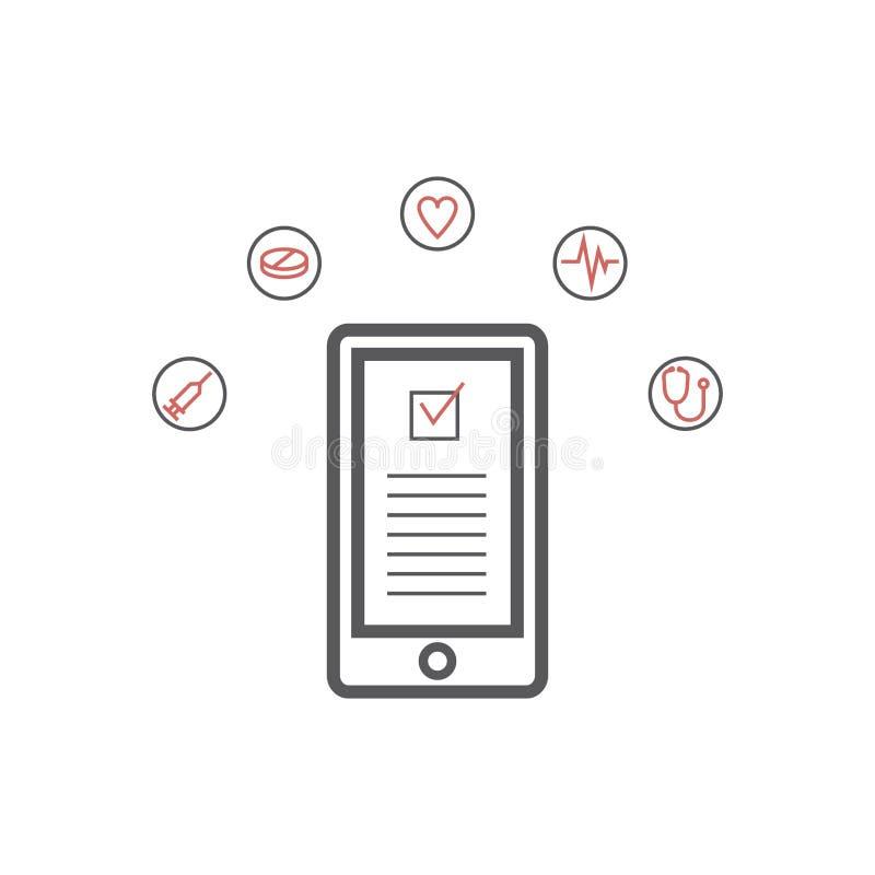 Mobilna medycyna, mhealth, online lekarka Nowożytnego płaskiego projekta graficzny pojęcie, cienieje kreskowe ikony ustawiać dla  ilustracja wektor