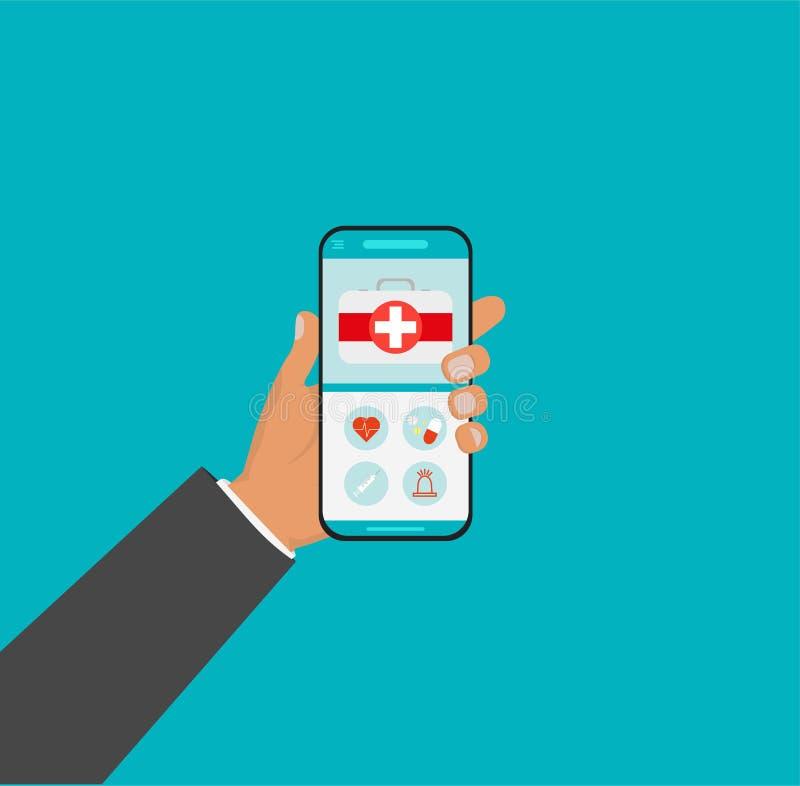Mobilna medycyna, mhealth, online lekarka Ręki mienia smartphone z medycznym app Wektorowa płaska ilustracja ilustracja wektor