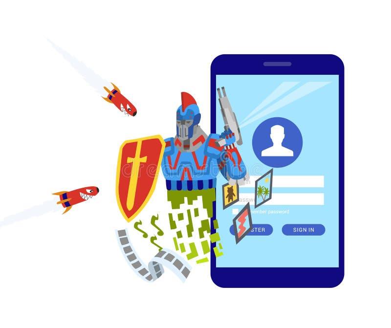 Mobilna ochrona app na smartphone ekranie U?ytkownika dotyka ekran P?aska projekta wektoru ilustracja Robota ochraniacz ilustracja wektor