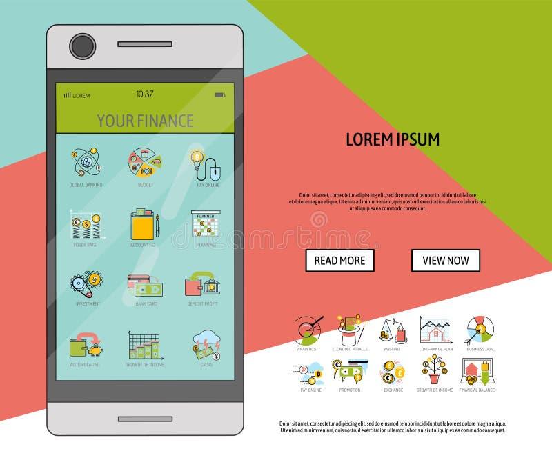 Mobilna pieniężna oprogramowanie sztandaru wektoru ilustracja tło łamający jajeczny eggshells zarządzania ryzyka biel Korporacyjn ilustracja wektor