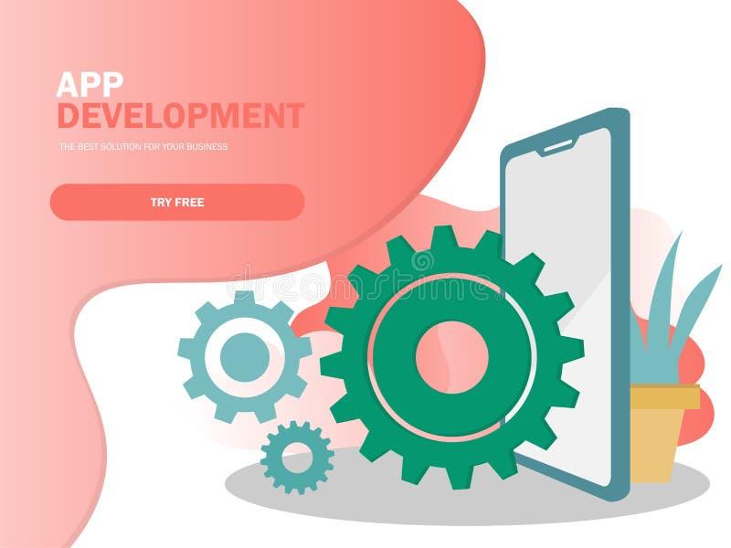 Mobilna podaniowego rozwoju wektoru ilustracja Smartphone interfejs royalty ilustracja