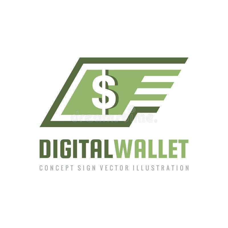 Mobilna prędkości zapłata Cyfrowego portfel Pieniądze dolar - pojęcie loga szablonu wektoru biznesowa ilustracja Waluta - kreatyw ilustracja wektor