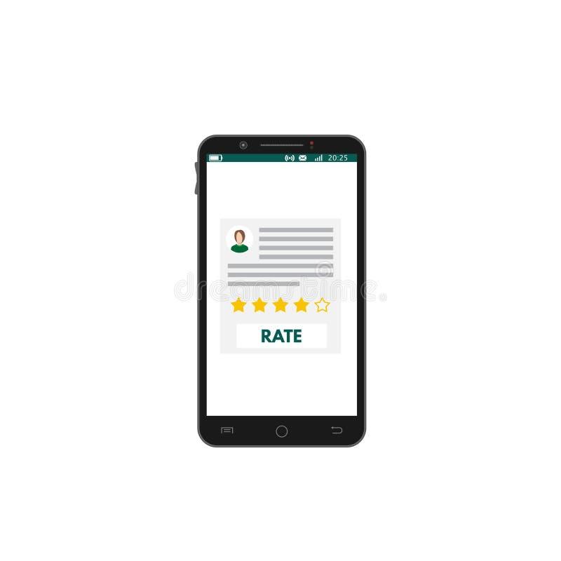 Mobilna smartphone app ocena royalty ilustracja