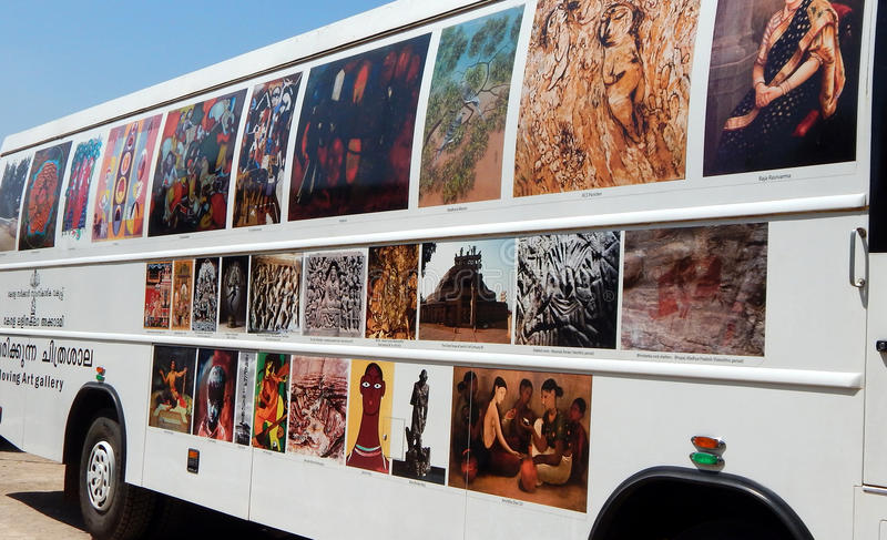 Mobilna sztuki galera Kerala stanu wystawa przesławny Indiański malarza Raja Ravi Varma zdjęcie royalty free