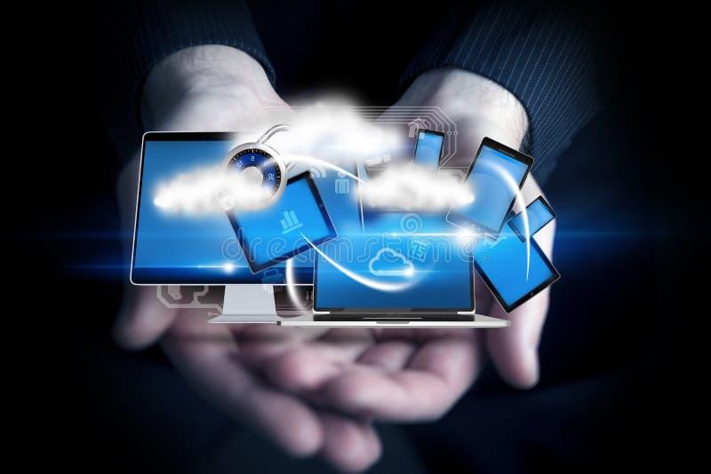 Mobilna technologia w rękach ilustracji
