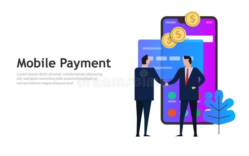 Mobilna zapłata, online mądrze telefonu zakupy transakcji biznesu pojęcie ilustracja wektor