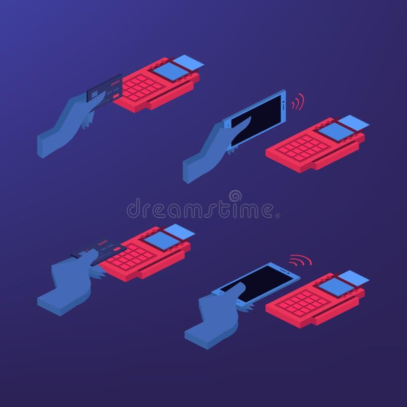 Mobilna zapłata ustawiająca odosobniona wektorowa ilustracja POS terminal potwierdza, NFC zapłata, pieniądze przelewanie przez sm ilustracja wektor