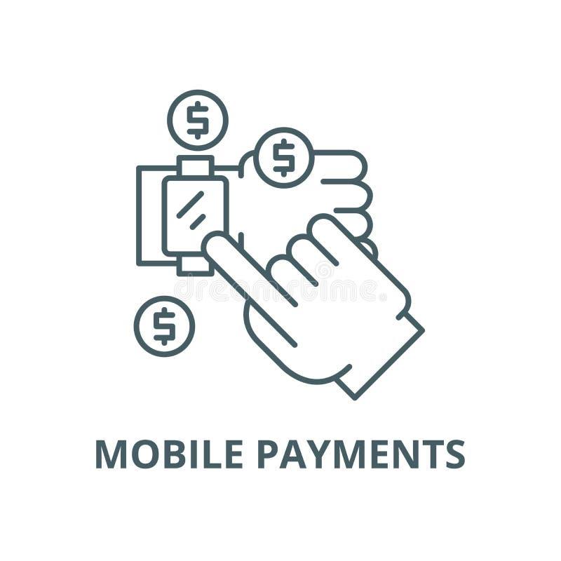 Mobilna zapłata wektoru linii ikona, liniowy pojęcie, konturu znak, symbol royalty ilustracja