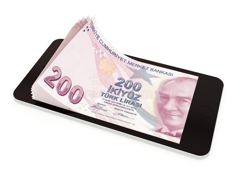 Mobilna zapłata z mądrze telefonem, Turecki lir royalty ilustracja
