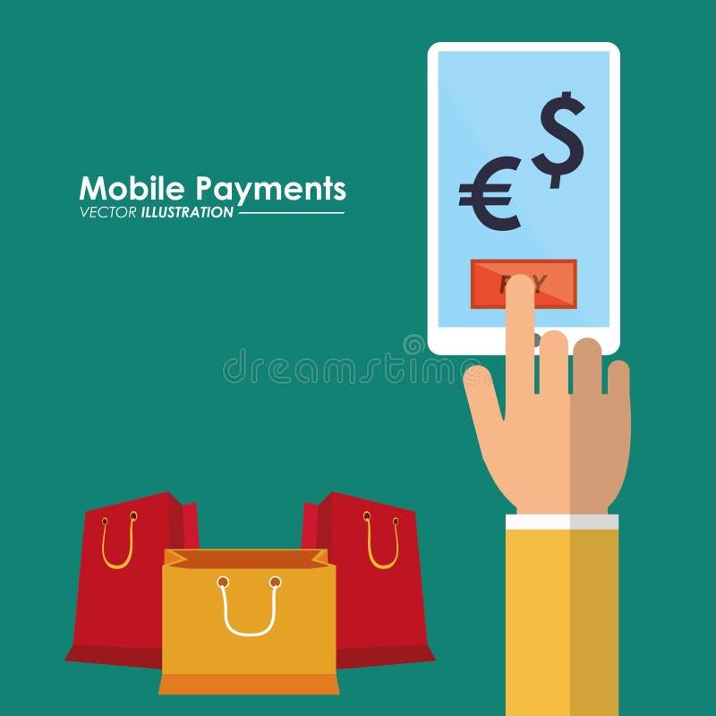Mobilna zapłaty ręka z smartphone sklepu pieniądze zawody międzynarodowi ilustracji