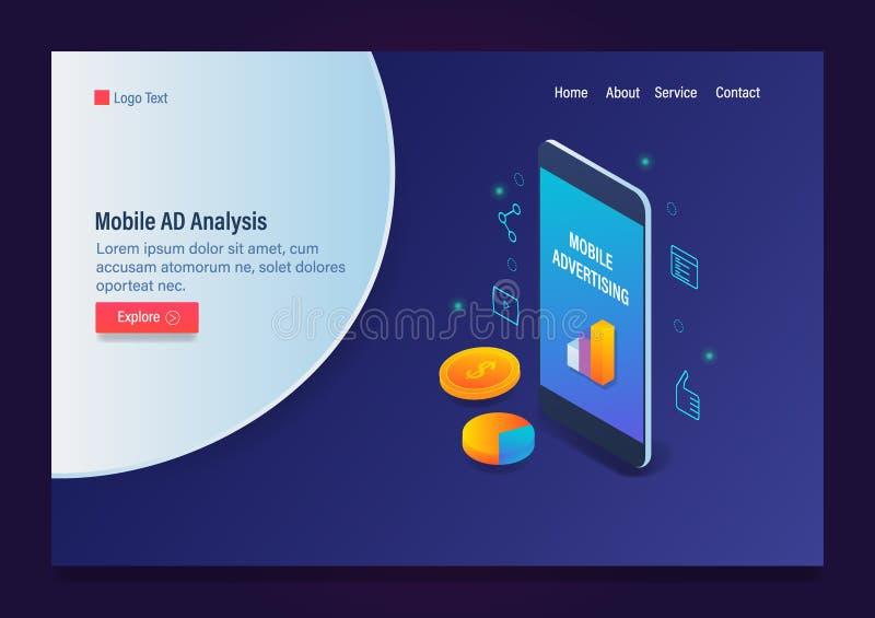 Mobilne analityka, marketing i stylowy isometric szablon z ikonami, reklamowy dane analizy, 3d projekta i tekst, ilustracji