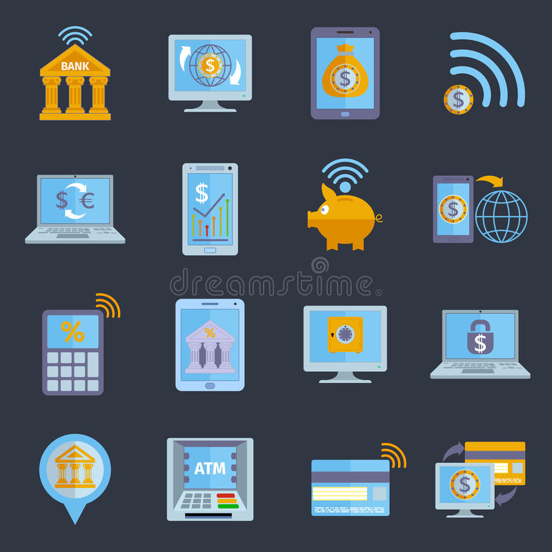 Mobilne bankowość ikony ilustracja wektor