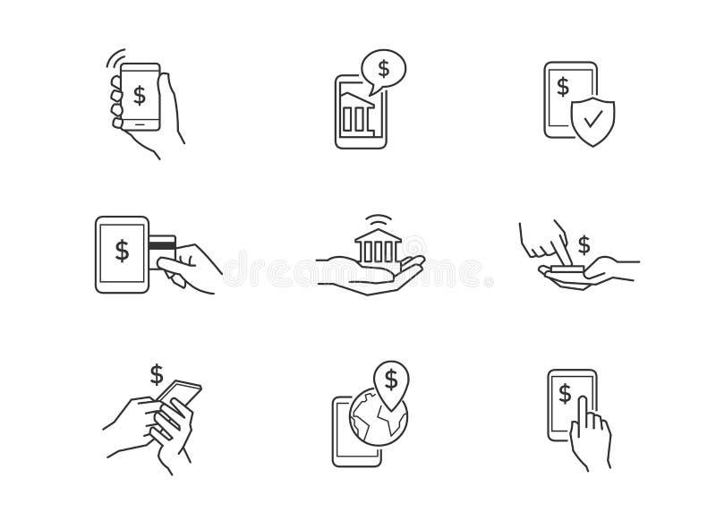 Mobilne bankowość ikony ilustracji