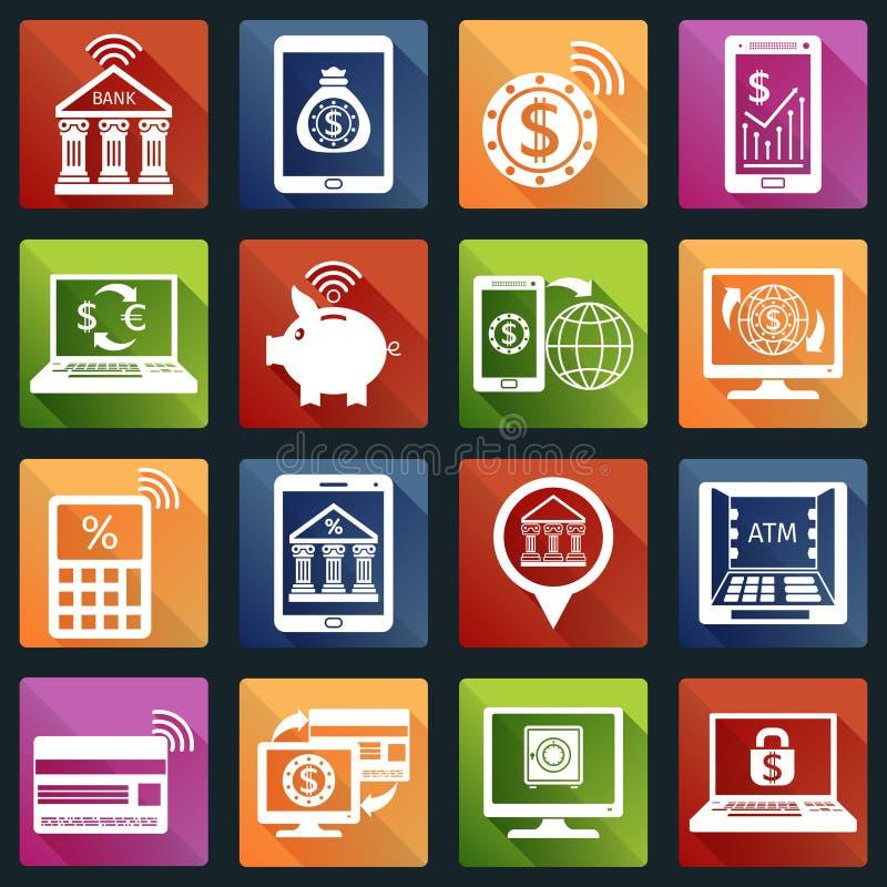 Mobilne bankowość ikony białe ilustracji