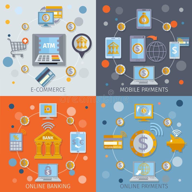 Mobilne bankowość ikony płaskie ilustracja wektor