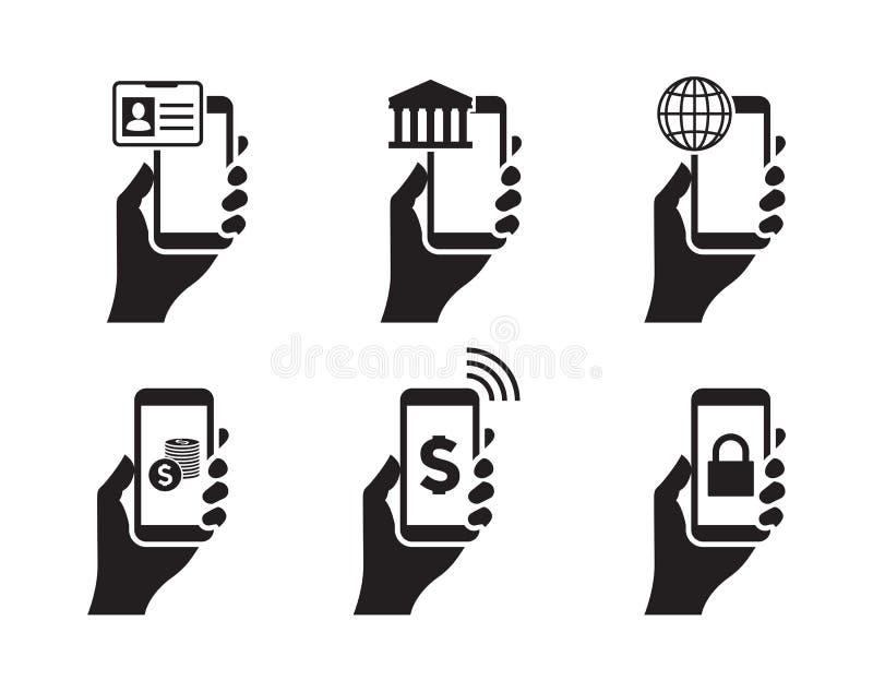 Mobilne bankowości ręki ikony ilustracja wektor