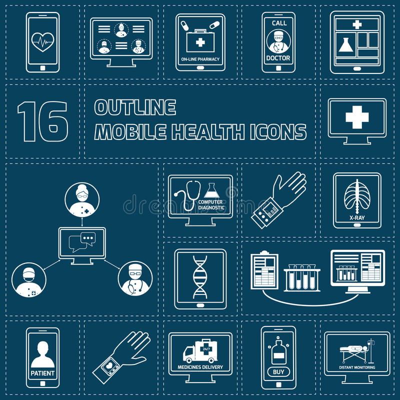 Mobilne ikony ustawiający zdrowie kontur ilustracja wektor