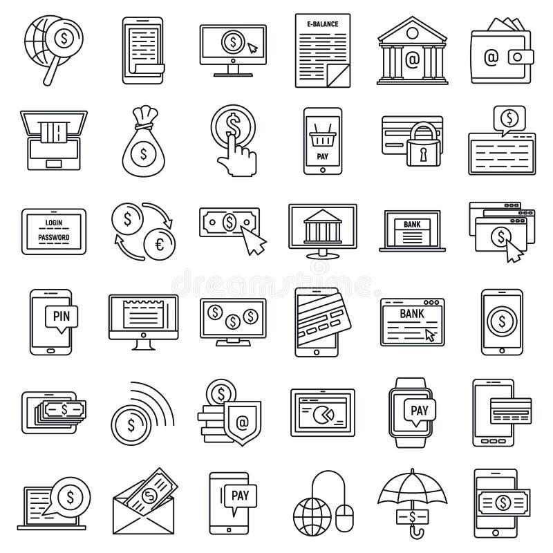 Mobilne internet bankowość ikony ustawiać, konturu styl royalty ilustracja