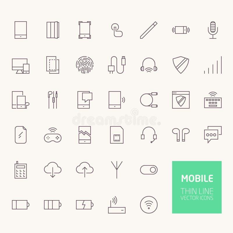 Mobilne kontur ikony dla sieci i wiszącej ozdoby apps royalty ilustracja