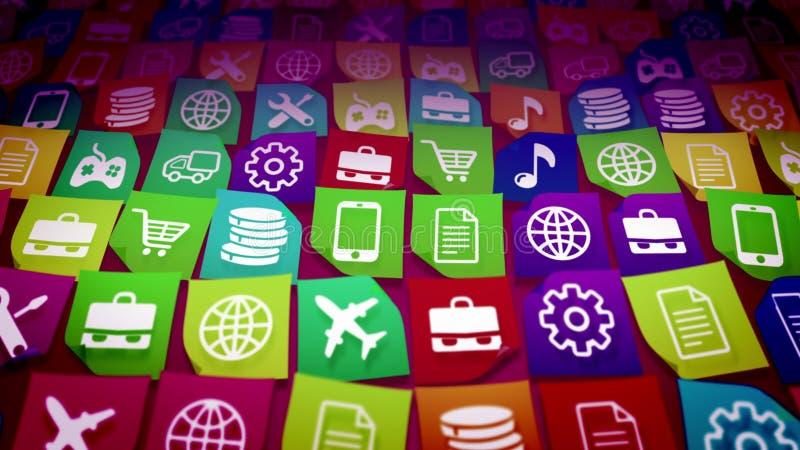 Mobilne podaniowe ikony brać diagonally ilustracja wektor