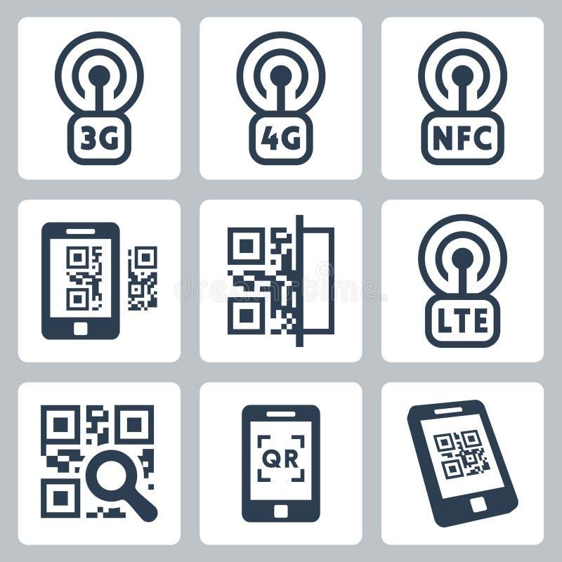 Mobilne sieci i kodu ikony ilustracja wektor