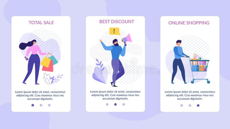 Mobilne strony Ustawiający reklamy sumy sprzedaży rabat royalty ilustracja