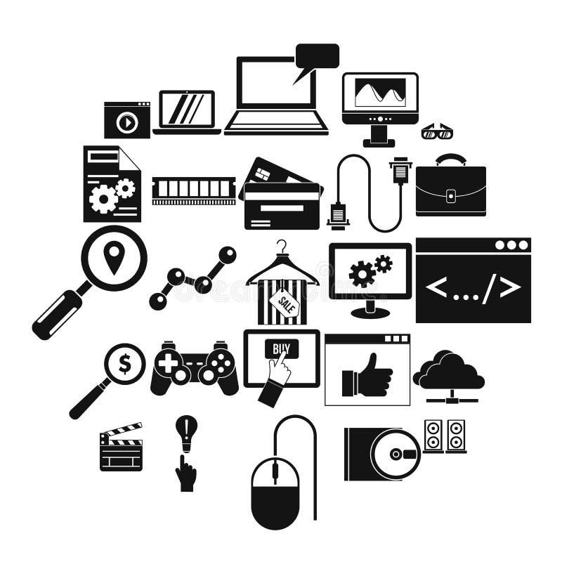 Mobilne technik ikony ustawiać, prosty styl ilustracji