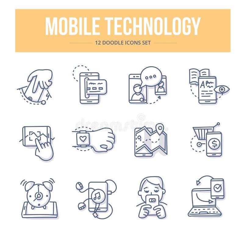 Mobilne technologii Doodle ikony royalty ilustracja