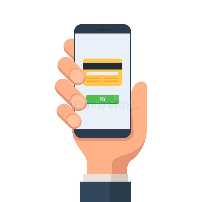 Mobilne zapłaty od kredytowej karty ilustracji