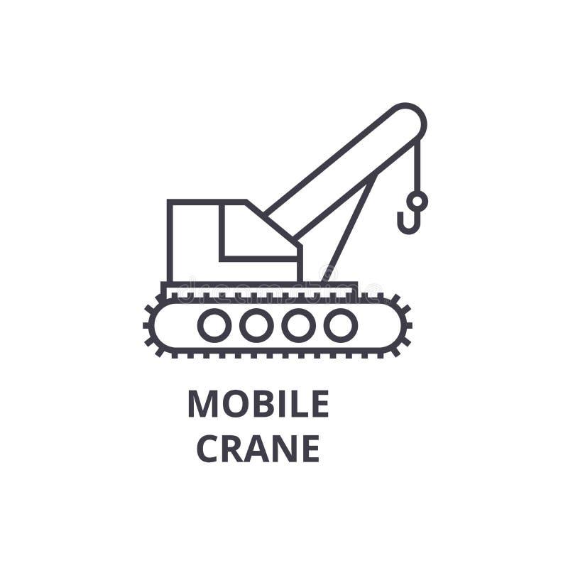 Mobilnego żurawia wektoru linii ikona, znak, ilustracja na tle, editable uderzenia royalty ilustracja