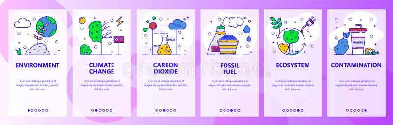 Mobilnego app onboarding ekrany Środowisko problemy, globalne ocieplenie, zmiana klimatu, ekologia Menu wektoru sztandar ilustracji