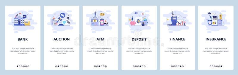 Mobilnego app onboarding ekrany Bankowość i usluga finansowa, aukcja, atm, depozytowy oszczędzania konto, ubezpieczenie wektor royalty ilustracja