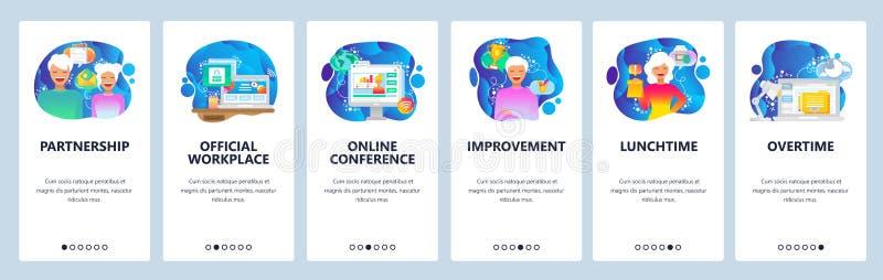 Mobilnego app onboarding ekrany Biznesowa i biurowa miejsce pracy, pary partnerstwo, online conferenc Menu wektoru sztandar ilustracji