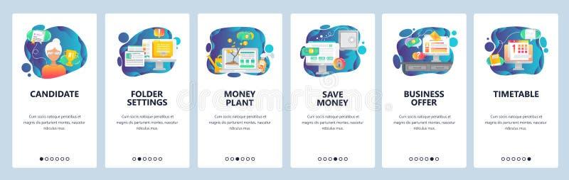 Mobilnego app onboarding ekrany Biznesowa oferta, pieniądze drzewo, rozkład i ostateczny termin, Menu sztandaru wektorowy szablon royalty ilustracja