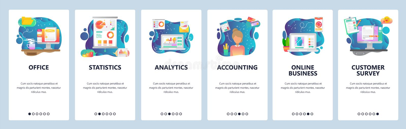 Mobilnego app onboarding ekrany Biznesowe pieniężne analityka, biurowy biurko, księgowość i online biznes, Menu wektor royalty ilustracja