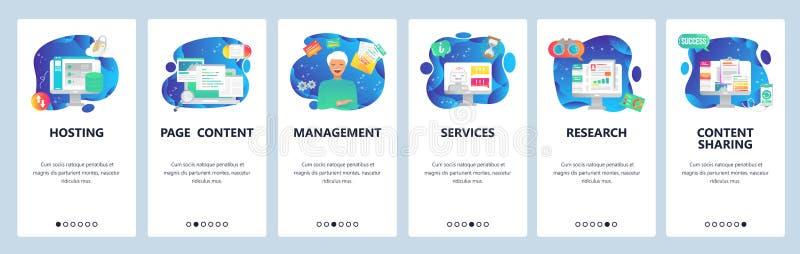 Mobilnego app onboarding ekrany Gościć technologię, zawartość, badanie rynku, komputerowe online usługi Menu wektor royalty ilustracja