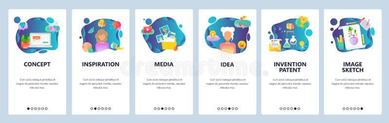 Mobilnego app onboarding ekrany Kreatywnie pomysł, wyobraźnia, inspiracja, sztuka i nauka, Menu sztandaru wektorowy szablon royalty ilustracja