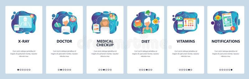 Mobilnego app onboarding ekrany Medyczny checkup, lekarz szpitalny, leki na receptę i promieniowanie rentgenowskie, Menu wektoru  ilustracji